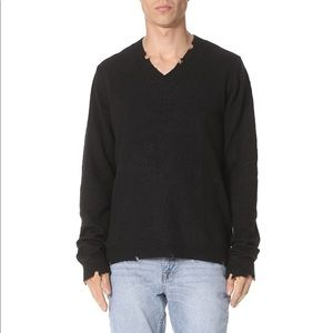Cheap Monday Coin Knit Distressed V-Neck Sweater